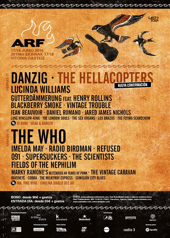 Los Brazos en 2016 Azkena Rock Festival - The Who Blackberry Smoke Hellacopters Lucinda Williams Viontage Trouble